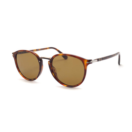 Persol Men's Typewritten Edition 3210 Sunglasses // Havana + Polarized Brown