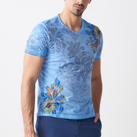 Patterned Floral V-Neck T-Shirt // Blue (S)