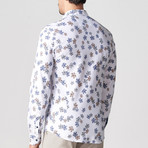 Fall Leaf Button-Up Shirt // White (M)