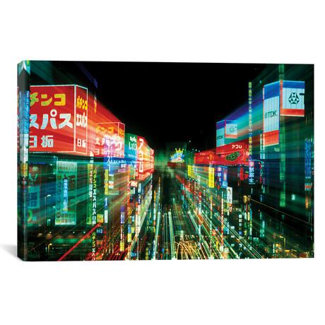 """Neon Motion Blur, Shinjuku, Tokyo Prefecture, Japan // Rob Tilley (18""""W x 12""""H x 0.75""""D)"""