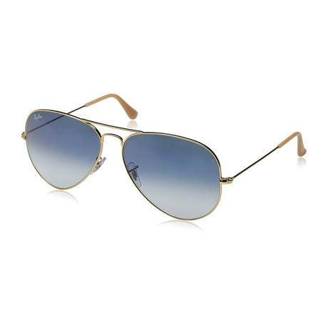 Aviator Large Metal Sunglasses // Gold + Blue Gradient