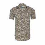 David Short Sleeve Casual Button Down Shirt // Beige (2XL)