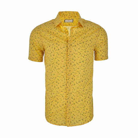 Peter Short Sleeve Casual Button Down Shirt // Yellow (XS)