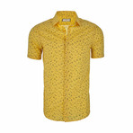 Peter Short Sleeve Casual Button Down Shirt // Yellow (2XL)