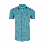 Jack Short Sleeve Casual Button Down Shirt // Turquoise (2XL)