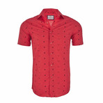 Christopher Short Sleeve Casual Button Down Shirt // Red (XL)