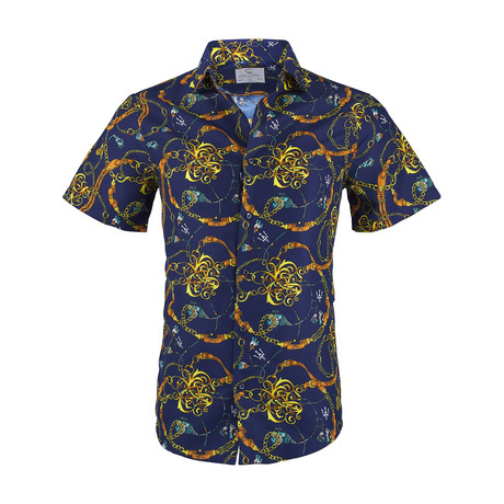 Henry Short Sleeve Casual Button Down Shirt // Navy (XS)