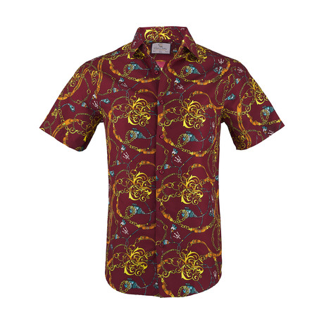 Daniel Short Sleeve Casual Button Down Shirt // Burgundy (XS)