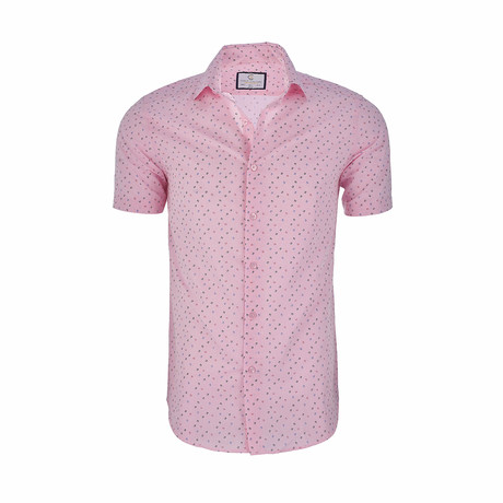 Anthony Short Sleeve Casual Button Down Shirt // Pink (XS)