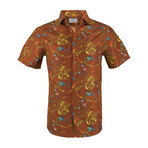 Matthew Short Sleeve Casual Button Down Shirt // Brown (2XL)