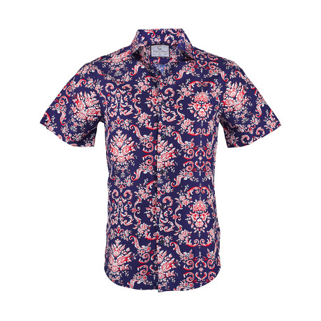 Arthur Short Sleeve Casual Button Down Shirt // Navy (XS)