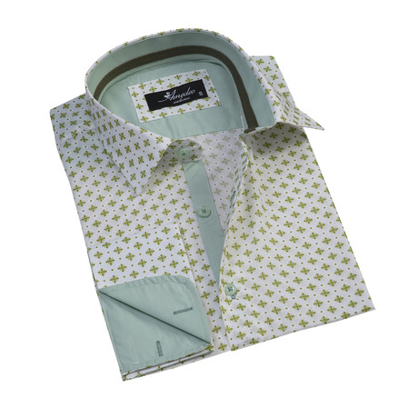 Reversible Cuff French Cuff Shirt // Patterned Light Green (S)