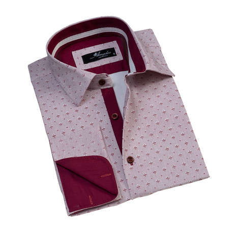Reversible Cuff French Cuff Shirt // Patterned Burgundy (S)