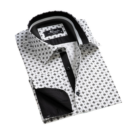 Reversible Cuff French Cuff Shirt // White + Black Pattern (S)
