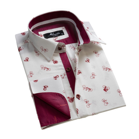 Reversible Cuff French Cuff Shirt // White + Burgundy Bicycles (S)