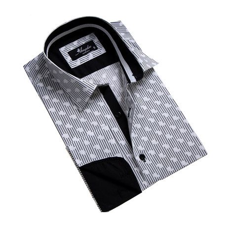 Reversible Cuff French Cuff Shirt // Black + White Lines + Paisley (S)