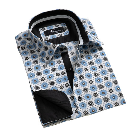 Amedeo Exclusive // Reversible Cuff French Cuff Shirt // White + Black + Blue Circles (S)