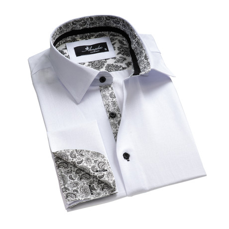 Reversible Cuff French Cuff Shirt // White + Black Paisley Pattern (S)
