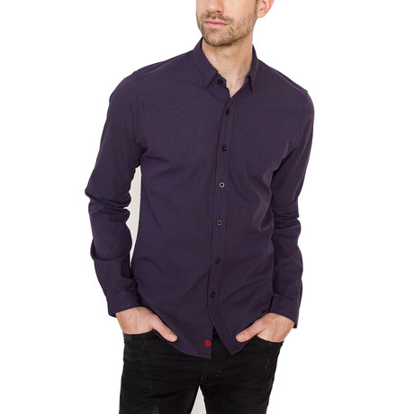 Maple Button Down Shirt // Navy + Maroon (L)