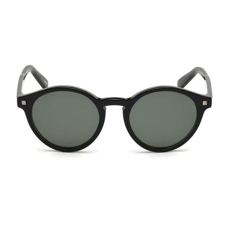 Ermenegildo Zegna // Classic Round Sunglasses // Black + Green