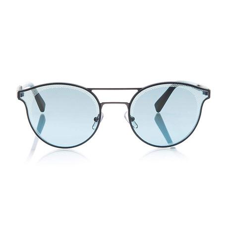 Zegna // Double Bridge Sunglasses // Silver + Blue Mirror