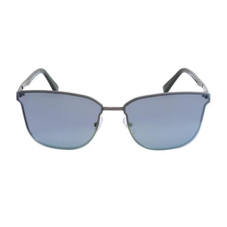 Zegna // Men's Navigator Sunglasses // Silver + Blue Mirror