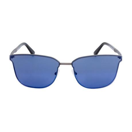 Zegna // Navigator Sunglasses // Gray + Blue Mirror