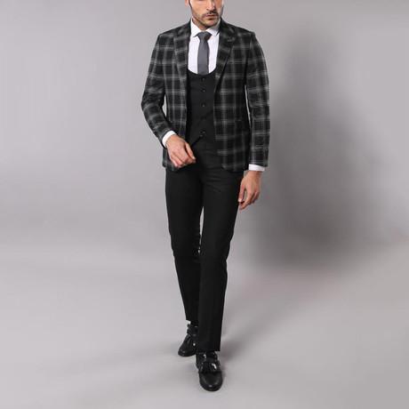 Bill 3-Piece Slim-Fit Suit // Black + Plaid (Euro: 44)