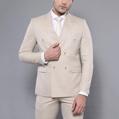 Waldo 3-Piece Slim Fit Suit // Beige (Euro: 44)