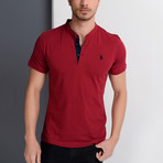 T8560 Collarless Polo // Burgundy (S)