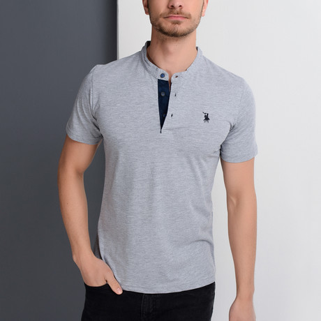T8560 Collarless Polo // Gray (S)