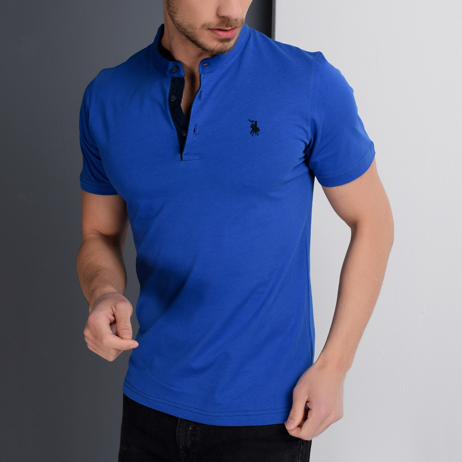 360dfad8 T8560 Collarless Polo // Sax (S) - Dewberry - Touch of Modern
