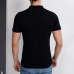T8560 Collarless Polo // Black (S)
