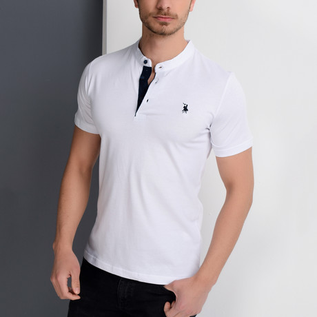 Christopher Collarless Polo // White (Small)