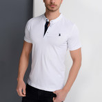 T8560 Collarless Polo // White (S)