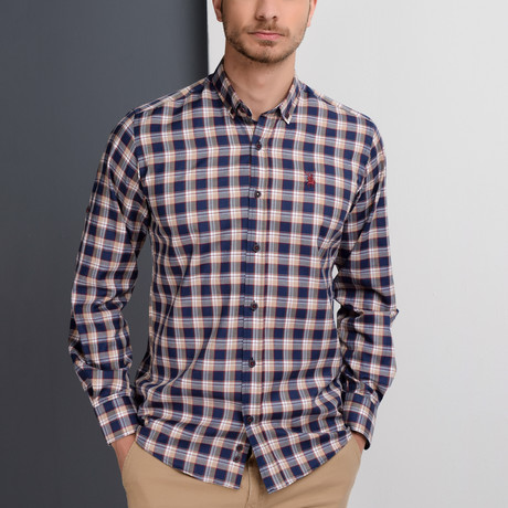 G651 Button-Up Shirt // Dark Blue + Beige (S)