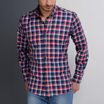 G651 Button-Up Shirt // Dark Blue + Burgundy (S)