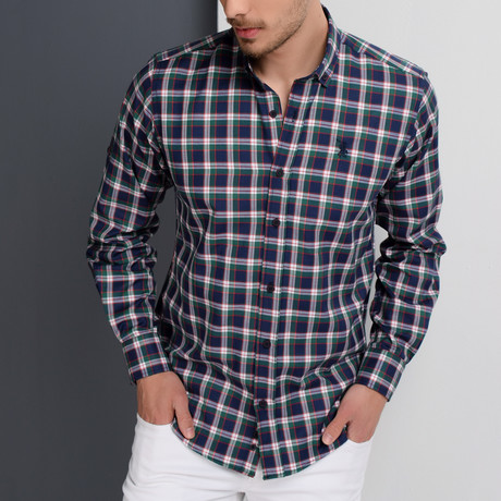 G651 Button-Up Shirt // Dark Blue + Green (S)