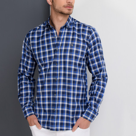 G651 Button-Up Shirt // Dark Blue + Sax (S)