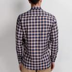 G651 Button-Up Shirt // Dark Blue + Beige (S)