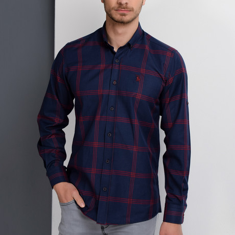 G656 Button-Up Shirt // Dark Blue + Burgundy (S)
