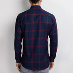 G656 Button-Up Shirt // Dark Blue + Burgundy (S)