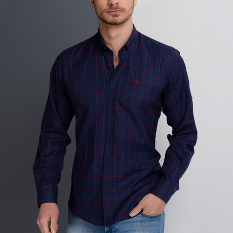 G658 Button-Up Shirt // Dark Blue + Burgundy (S)
