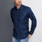 G658 Button-Up Shirt // Dark Blue + Green (M)