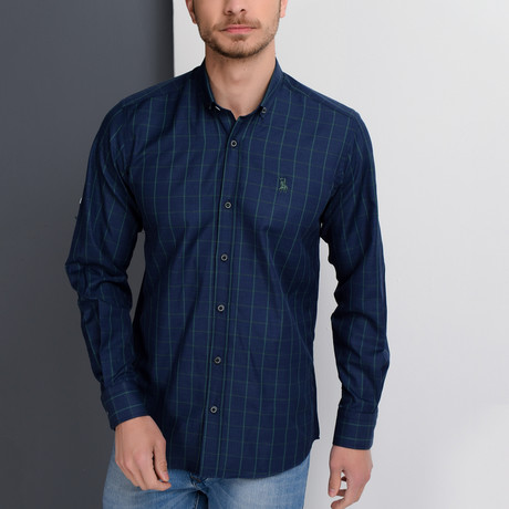 G658 Button-Up Shirt // Dark Blue + Green (S)