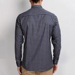 G661 Button-Up Shirt // Dark Blue + Beige (S)