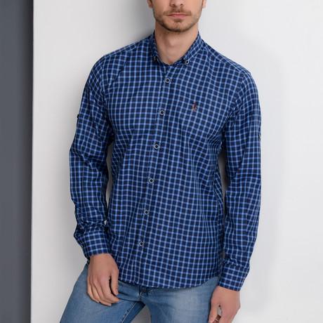 G661 Button-Up Shirt // Dark Blue + Blue (S)