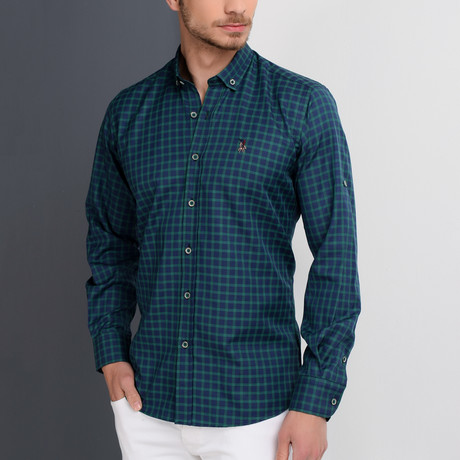 G661 Button-Up Shirt // Dark Blue + Green (S)
