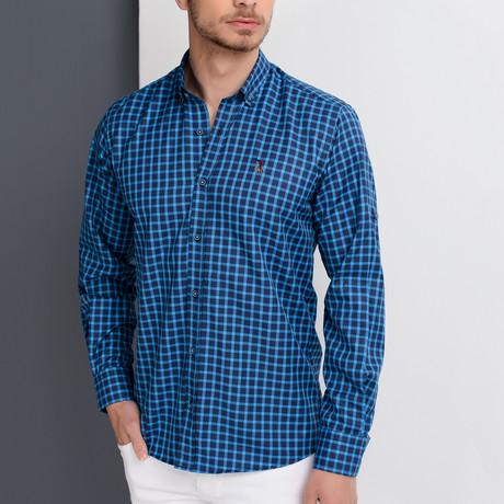 G661 Button-Up Shirt // Dark Blue + Sax (S)