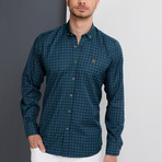G661 Button-Up Shirt // Dark Blue + Green (S)